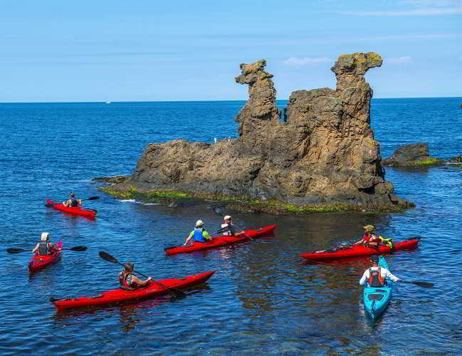 With a kayak on Bornholm